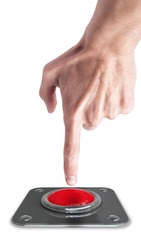 hand press on big Red button isolated on white background