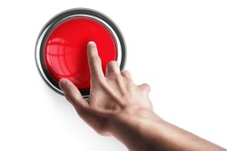 hand press on big Red button isolated on white background High resolution. 3D image
