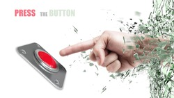 Hand press on big Red button out of cracked glass isolated on white background