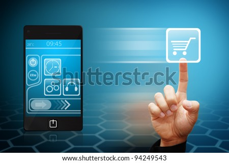 Hand press on cart button from mobile phone