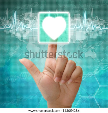 Hand press on Heart Symbol ,medical icon