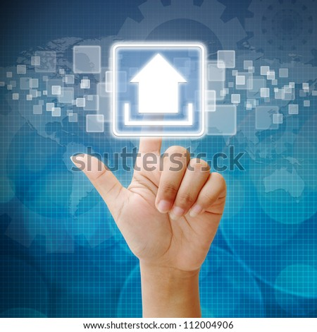 Hand press on Upload icon