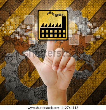 Hand press touch factory symbol on industry background