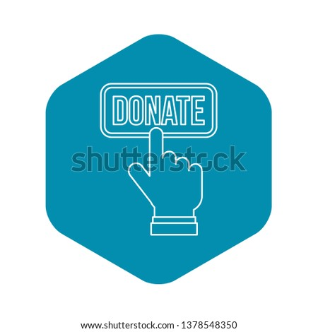 Hand presses button to donate icon. Outline illustration of hand presses button to donate icon for web design