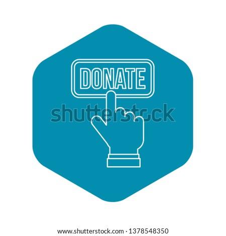 Hand presses button to donate icon. Outline illustration of hand presses button to donate icon for web design
