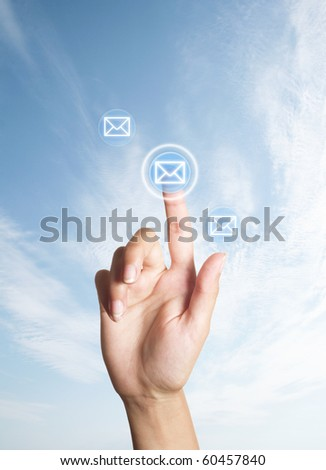 hand presses the button (icon of letter)