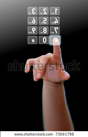 Hand pressing a button of a phone's numeric dial in virtual space using touch screen interface