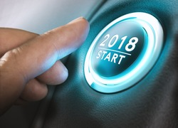 Hand pressing a 2018 start button. Concept of new year, two thousand eighteen. Composite between a photography and a 3D background. Horizontal image