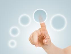 Hand pressing circle virtual buttons