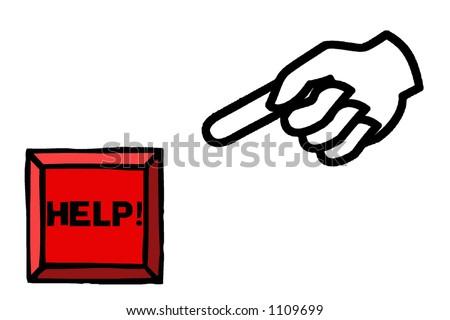 Hand Pressing Help Button