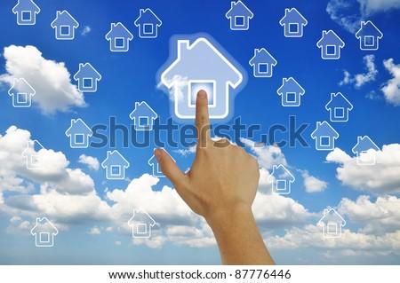Hand pressing home symbol  on  grassland  blue sky #87776446
