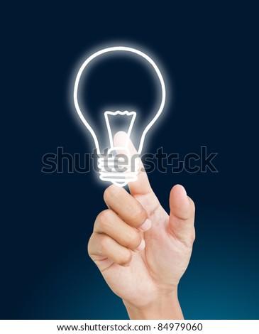 Hand pressing light bulb