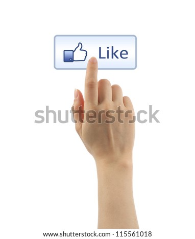 Hand pressing like button on white background