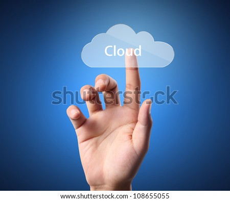 Hand pressing modern social buttons