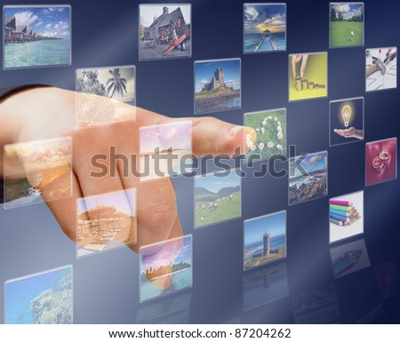 Hand pressing modern touch screen buttons with heart symbol