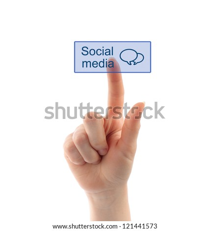 Hand pressing social media button