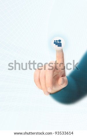 Hand pressing social media button on touchscreen