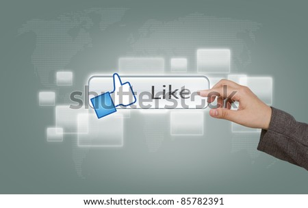 hand pressing Social Network Like  icon