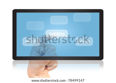 Hand pressing success word for success concept on tablet.