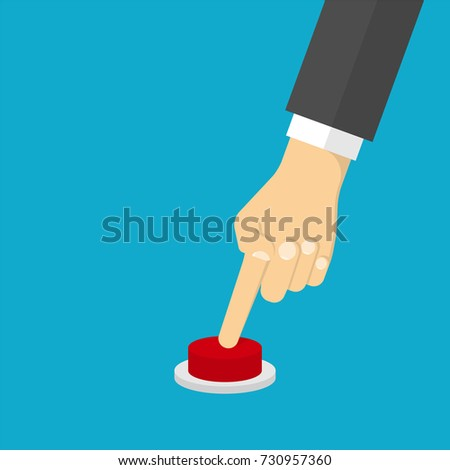 Hand pressing the red button. Flat design style #730957360