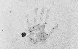 Hand print on wall.