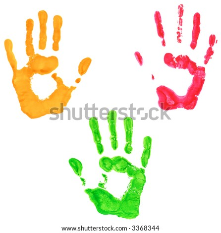 Hand prints in three colors