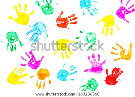 Hand prints of child isolated on a white background