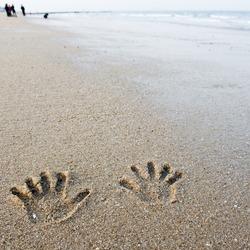 hand prints on the sand