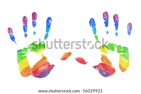 Hand Prints With Rainbow Colors Showing Through