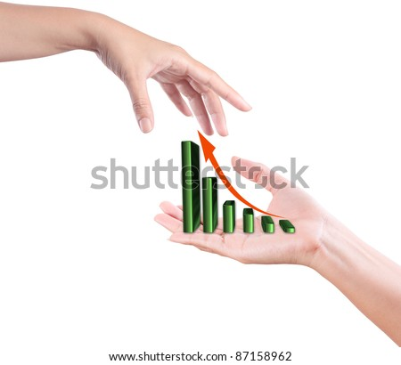 hand propose  business growth chart graph to partner