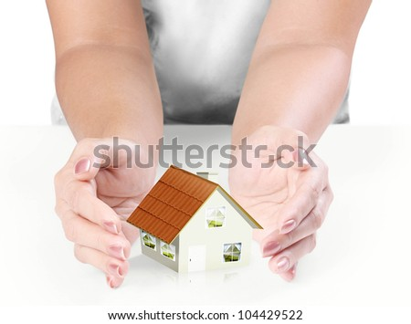 hand Protect Your House   on white background