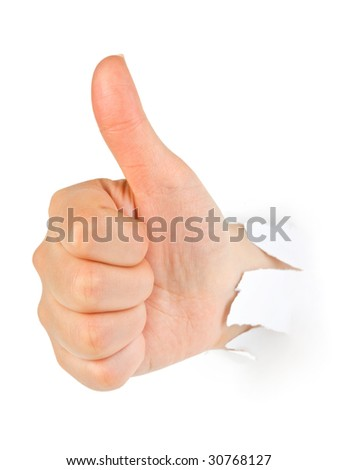 Hand punching through paper isolated on white background