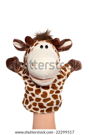 Hand puppet of giraffe isolated on white, happy emotion.