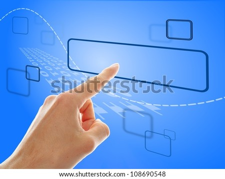 hand push a touch screen button with blue background