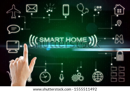 Hand push concept of smart home technology system with centralized control. 3D Rendering