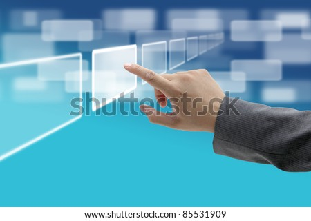 hand push on technology virtual touch screen interface