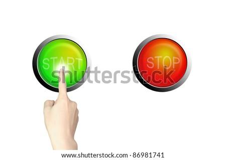 hand push start button on white background