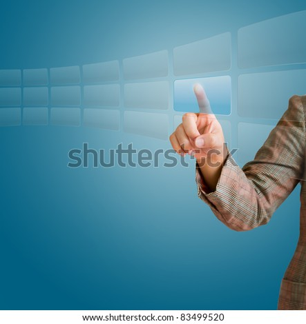 hand pushing a button on a touch screen interface. Uneven diffuse lighting version background template for design work