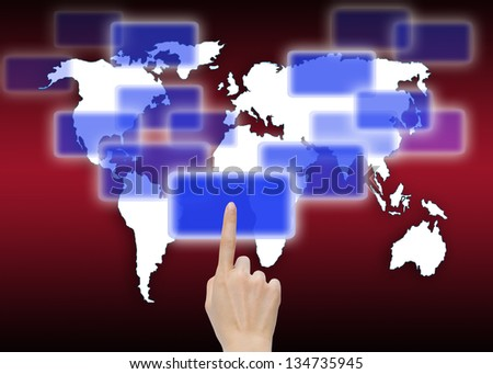hand pushing a button on global map background