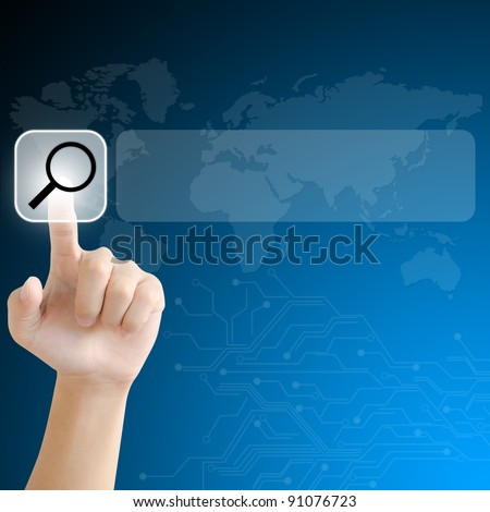hand pushing a search button on a touch screen interface