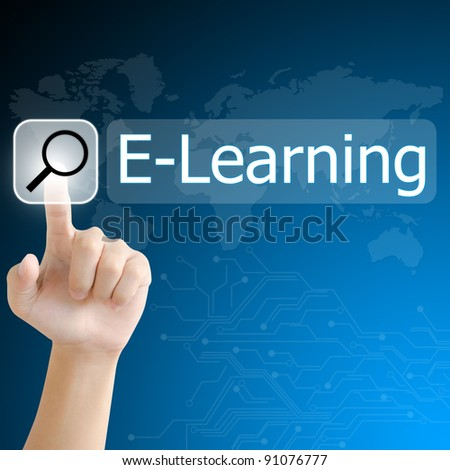 hand pushing a search button to find e-learning word on a touch screen interface