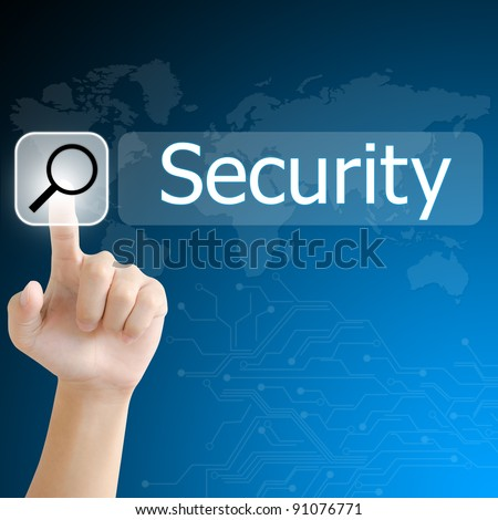 hand pushing a search button to find security word on a touch screen interface