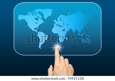 hand pushing a world map on a touch screen interface