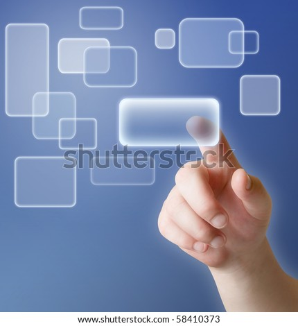 hand pushing button on touch screen