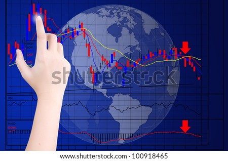 Hand pushing finance graph for trade stock market on the whiteboard.