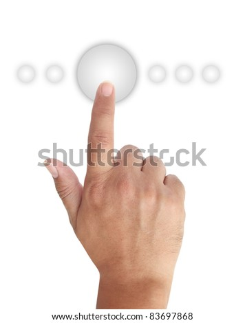Hand Pushing Glossy Button, This image contain clipping path for hand and all buttons. - stock photo