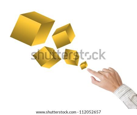 Hand pushing golden box