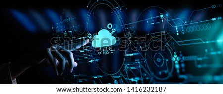 Hand pushing icon Ui of Cloud Computing Technology Internet Storage Network Concept #1416232187