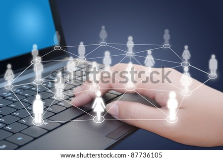 Hand pushing laptop keyboard with social network people.