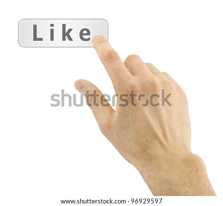 Hand pushing like button on white background - stock photo
